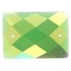 Glitter Sew-on Stone 10pcs Rectangle 18x25mm Green Aurora Borealis